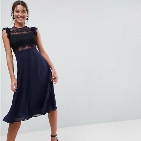 24f4dd23d870 ASOS Dresses | Nwt Lace Midi Dress With Lace Frill Sleeve | Poshmark